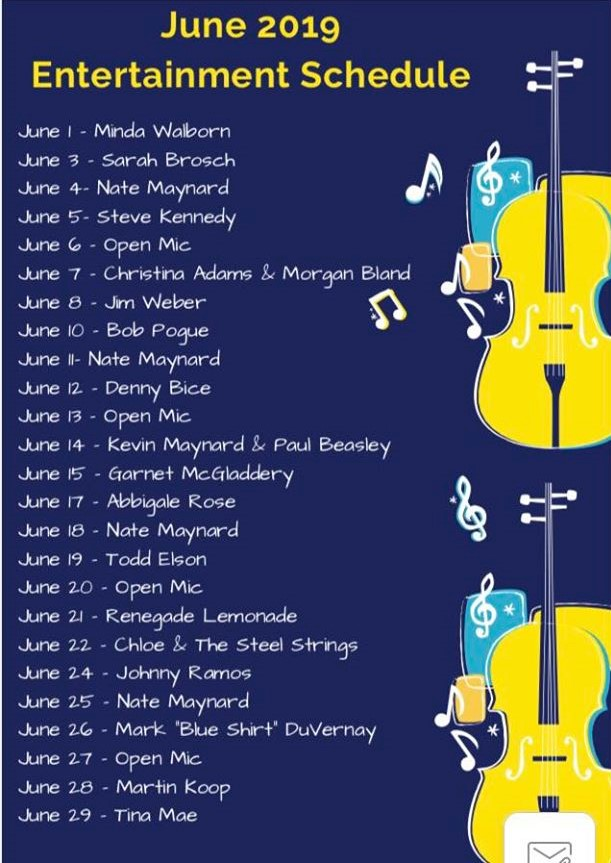 Upcoming LIVE Music - June 2019