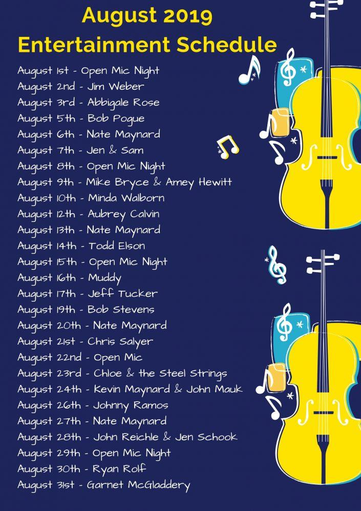 August 2019 LIVE Music Schedule